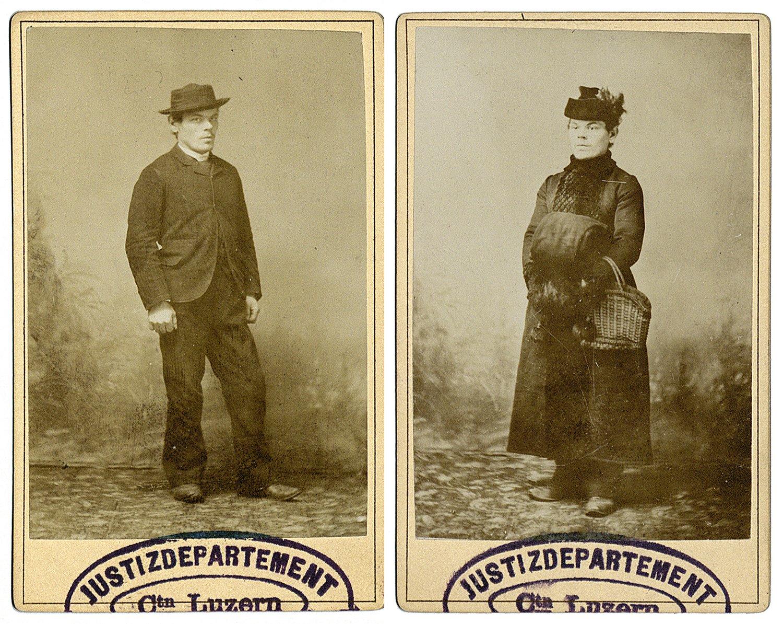 Ferdinand Gatti (1891) einmal in normalen Kleidern, rechts mit Hut und Mantel des Opfers.