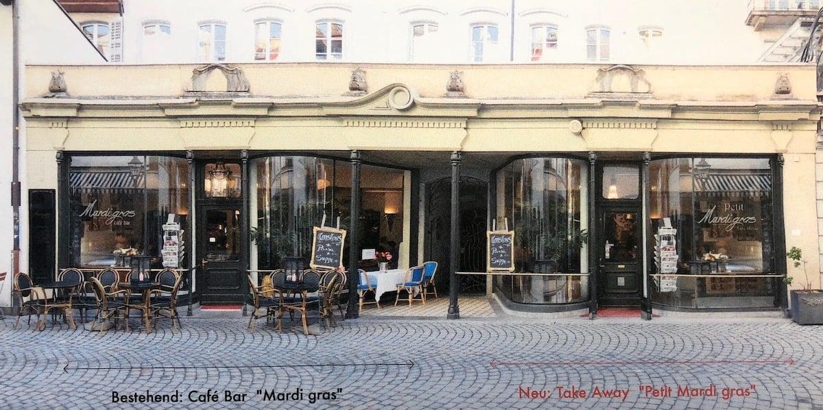 Bijouterie wird «Petit Mardi gras»:Äusserlich wird die neue Bar mit Take-away dem grossen Bruder gleichen.