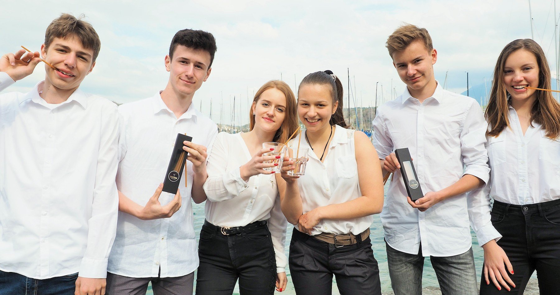 Das Team von «EdiStraw» (v.l.): Gian Gabriel, Yann Ryff, Lena Grueter, Salome Vonlanthen, Valentin Humbel und Maëlle Rentsch.