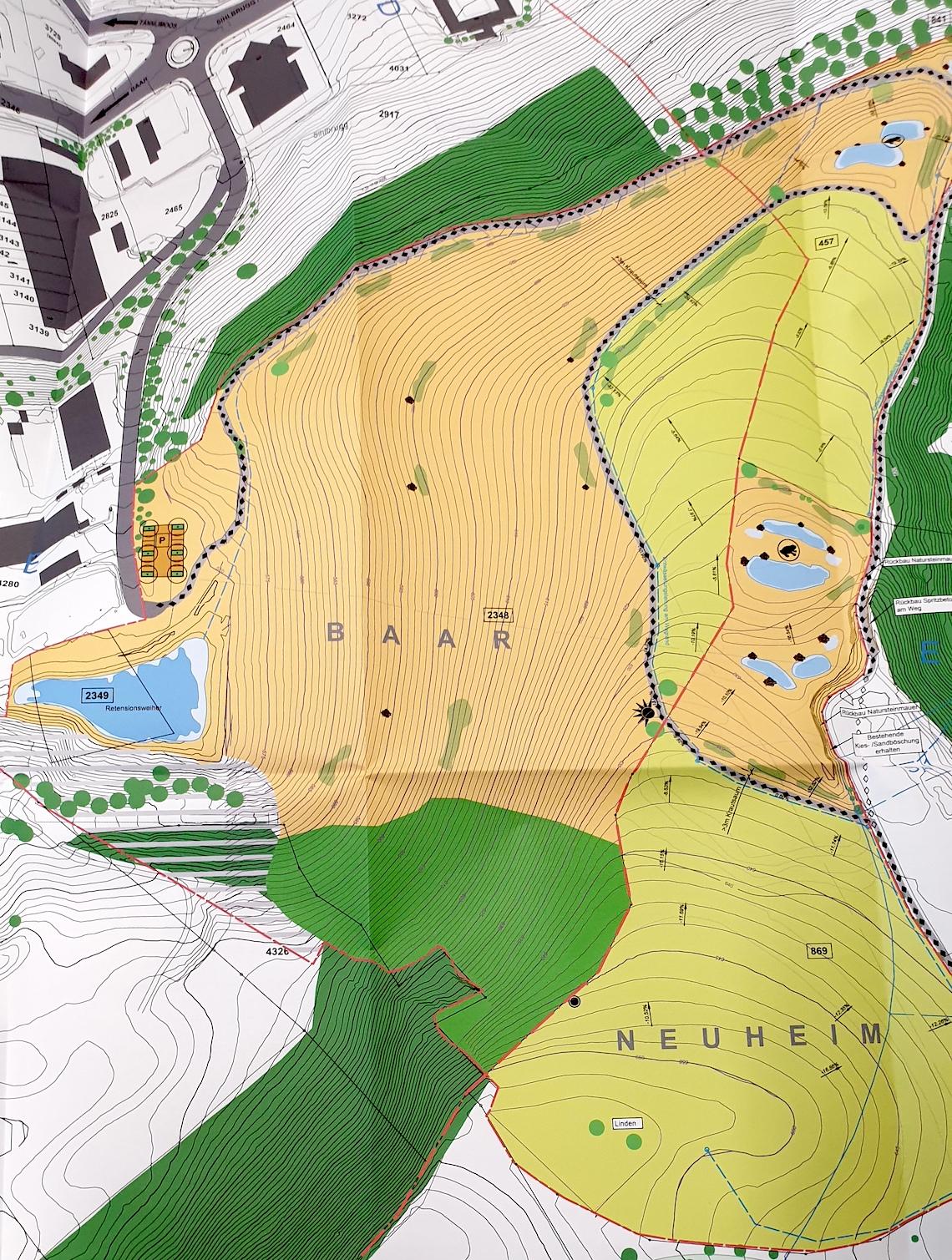 Neuer Endgestaltungplan. Beige = Ausgleichsflächen, hellgrün = Kulturland.