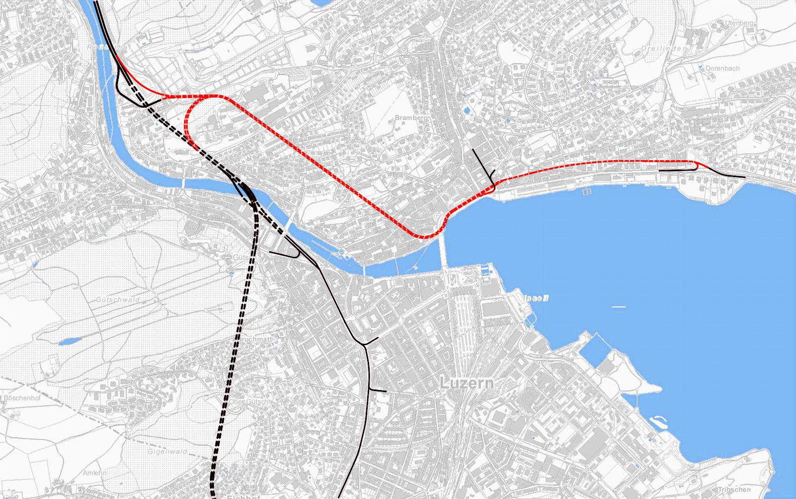 Schwarz sind die heute existierenden Strassen und Tunnels – die rote Linie zeigt, wo die Spange Mitte verlaufen würde.