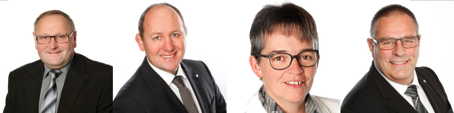 Exponenten der SVP schätzen die Lage der Partei ein. Von links: Toni Graber, Dieter Haller, Vroni Thalmann und Fredy Winiger.