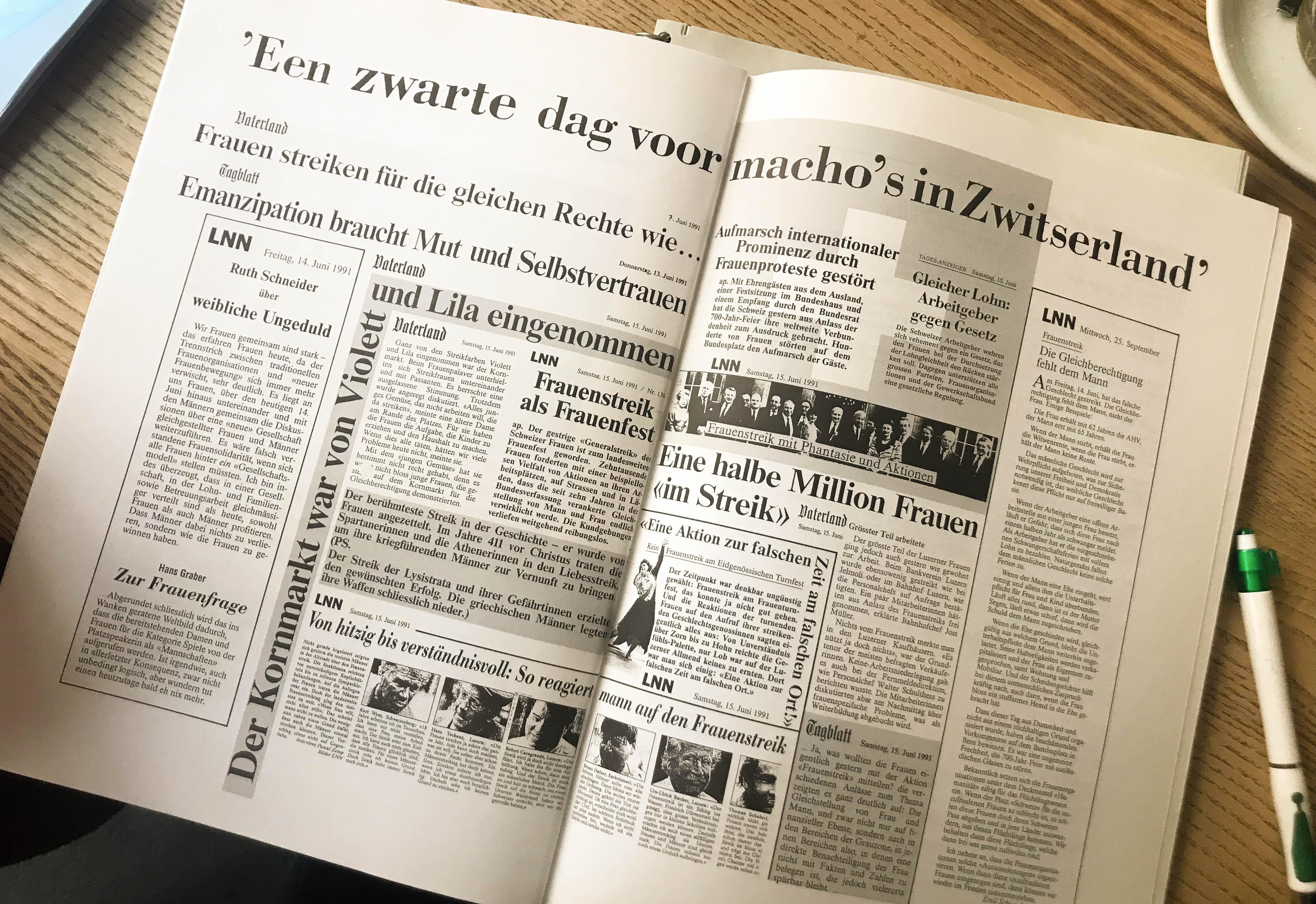 Zeitungsberichte nach dem Frauenstreik 1991.