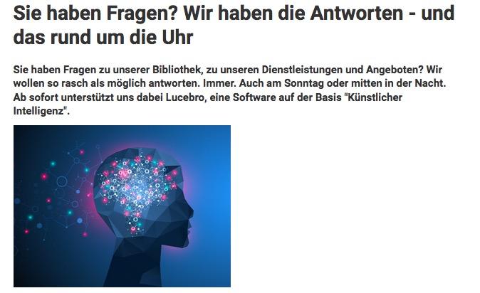 Ein auf künstlicher Intelligenz basierendes Programm beantwortet künftig Fragen von Bibliotheksnutzern. (Screenshot ZHB-Webseite)