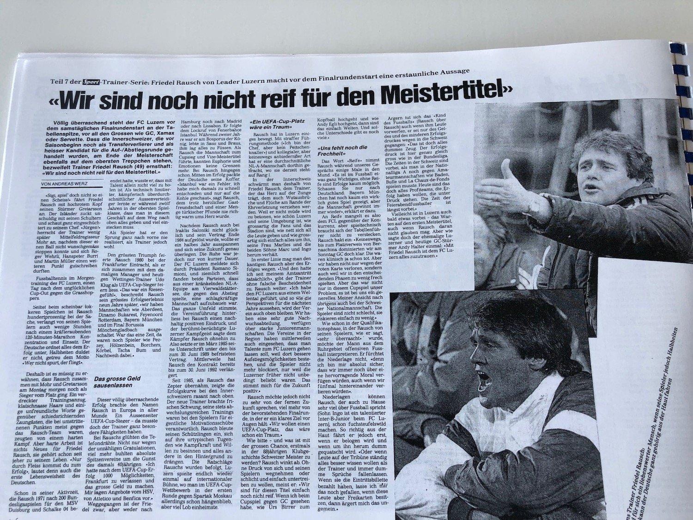 Auch FCL-Trainer dürfen sich mal irren: Friedel Rausch glaubte 1989 in einer grossen Geschichte im «Sport» nicht an den Titelgewinn seiner Mannschaft.