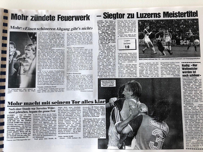 Jürgen Mohr hat den FCL mit seinem 1:0 über Servette am 10. Juni 1989 zum ersten und bisher einzigen Meistertitel geschossen