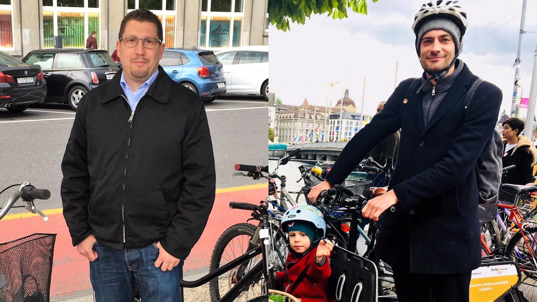 Sind sich nicht einig, wie eine effektive Veloförderung funktionieren soll: Die Grossstadträte Urs Zimmermann (links) und Nico van der Heiden.