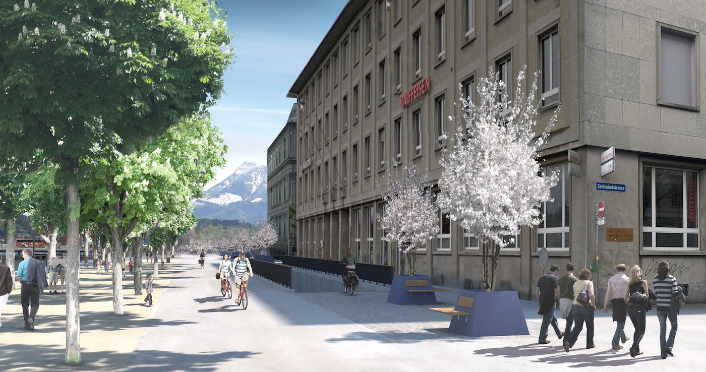 Der Zugang zur Velostation würde über eine Rampe auf der Bahnhofstrasse führen
