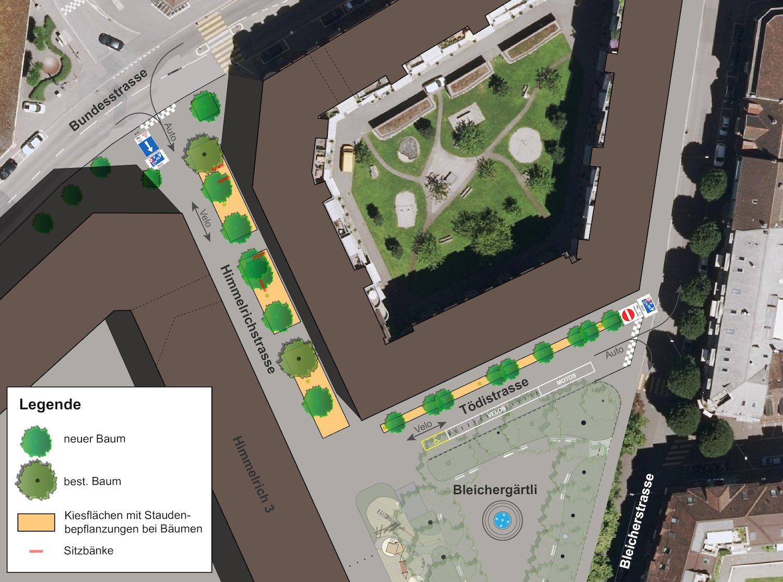 Die geplante Aufwertung der Tödi- und Himmelrichstrasse. Unten links steht die neue ABL-Überbauung.