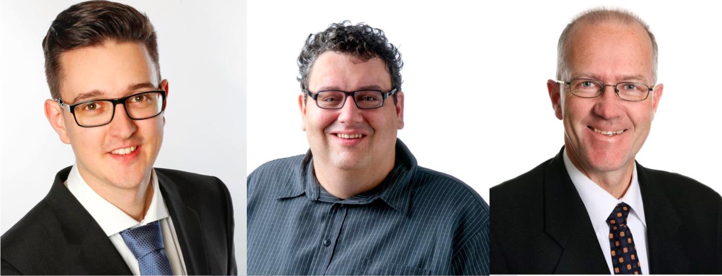Rücken für die Stadtluzerner SVP in den Grossen Stadtrat nach: Patrick Zibung, Adrian Achermann und Oliver Heeb (von links nach rechts).
