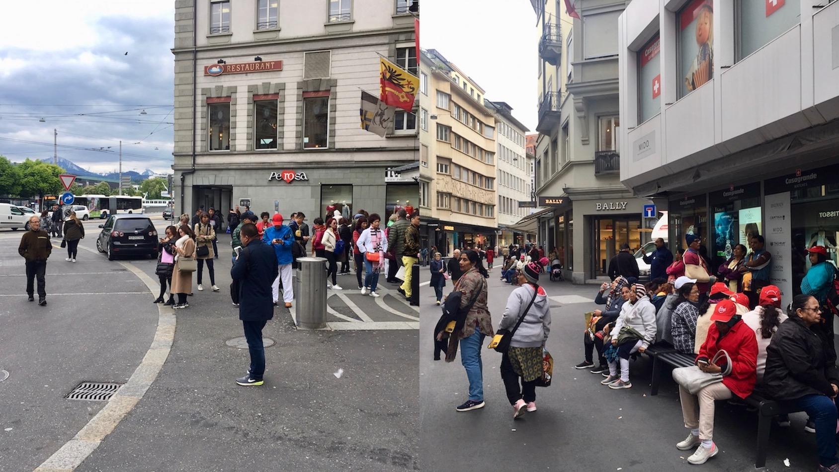 Gegen 16 Uhr waren auf dem Schwanenplatz und am Grendel hauptsächlich indische Touristen anzutreffen.