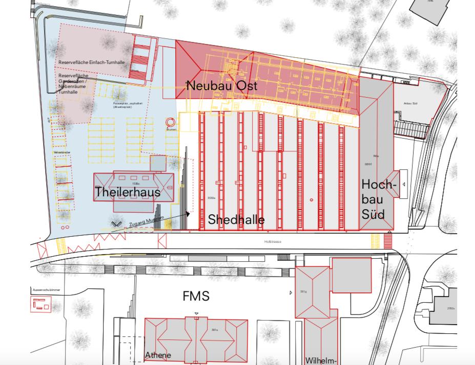 Gemäss Machbarkeitsstudie soll hinter der Shedhalle ein Neubau entstehen.