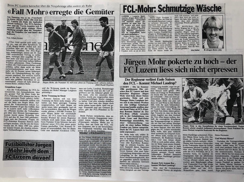 So berichteten die Zeitungen im Frühjahr 1989 über den Abgang von FCL-Regisseur Jürgen Mohr.
