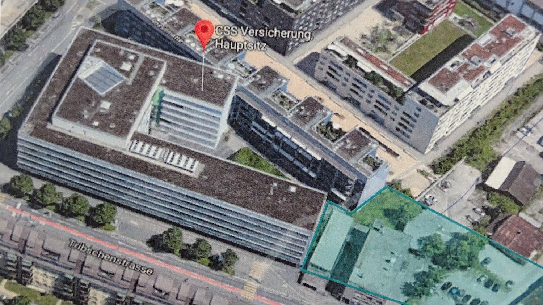 Das L-förmige Gebäude des CSS-Hauptsitzes soll an der Tribschenstrasse verlängert werden. Das nebenanliegende Gewerbegebäude würde abgerissen.