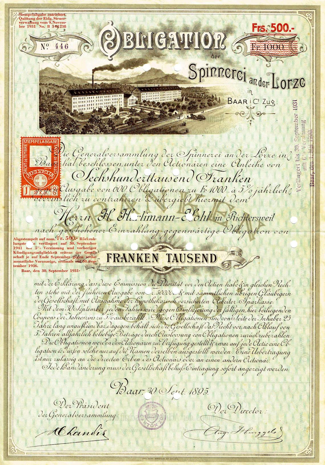 Spinnerei-Obligation aus dem Jahre 1895.