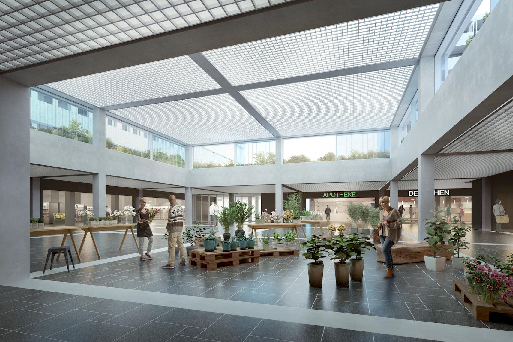 Luftiger, grösser, einen Stock höher: der künftige Marktplatz im Herti-Center.