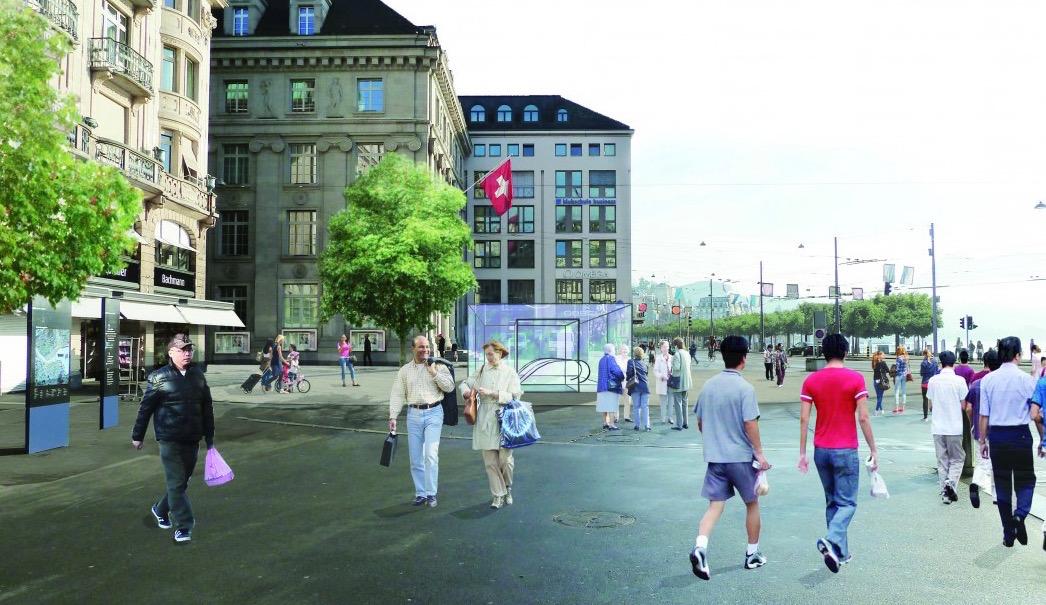 Direkt am Schwanenplatz wäre der Ausgang der Metro, so die Idee. (Visualisierung: zvg)