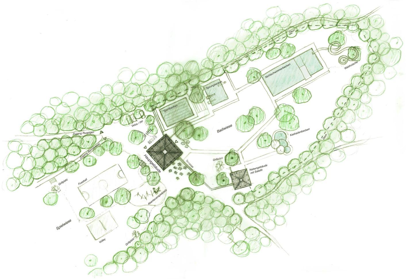 Visualisierung des Siegerprojekts: So wird die Zimmeregg-Badi in Zukunft aussehen.