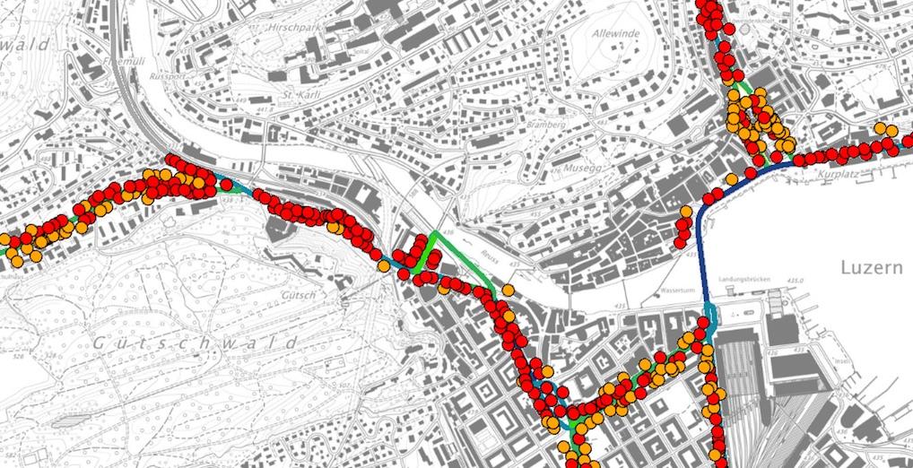 Gelbe und rote Punkte verheissen für die Anwohner nichts Gutes: Dort ist die Lärmbelastung der Strasse über dem Grenzwert.