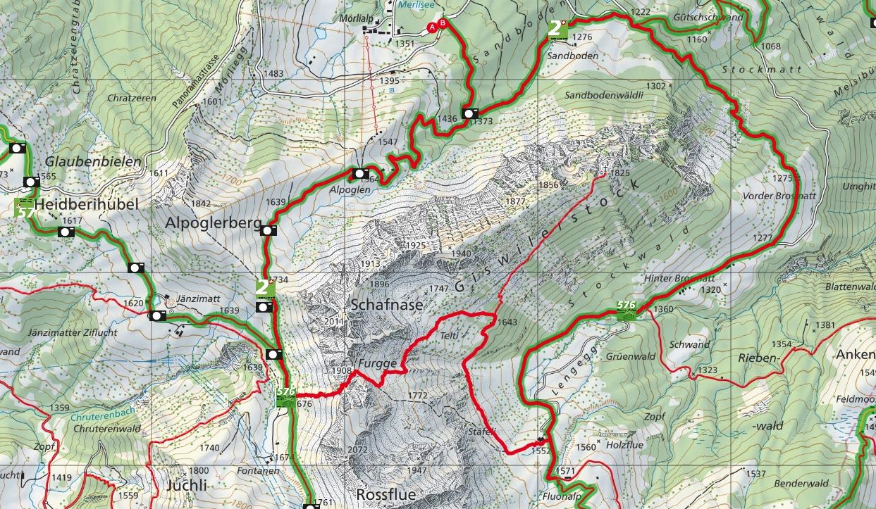 Karte der Rundwanderung um den Giswilerstock: Variante zur Nummer 576, dem Bärgmandlipfad.